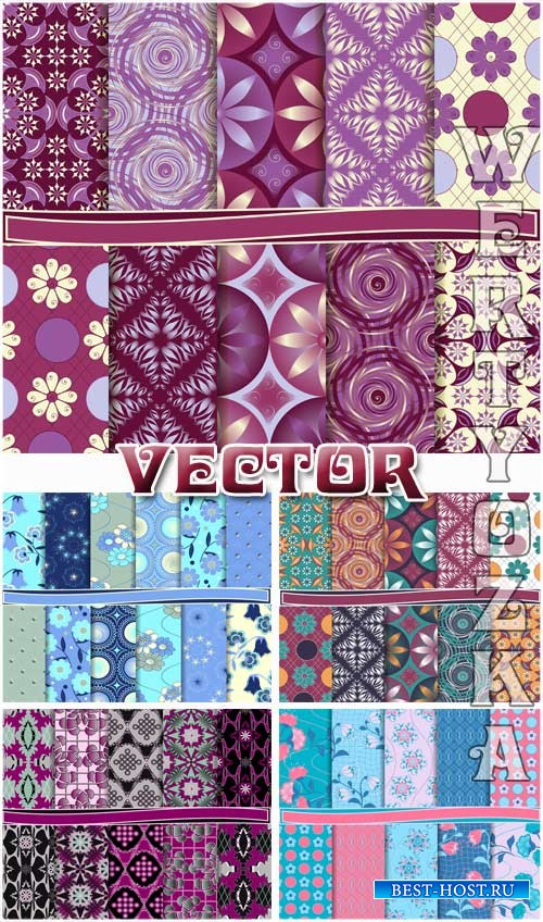 Цветочные текстуры / Floral texture, backgrounds with patterns - vector cli ...