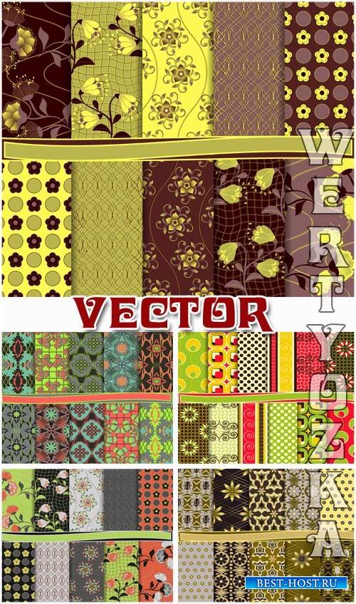 Коллекция цветочных текстур / Collection of floral textures - vector clipar ...