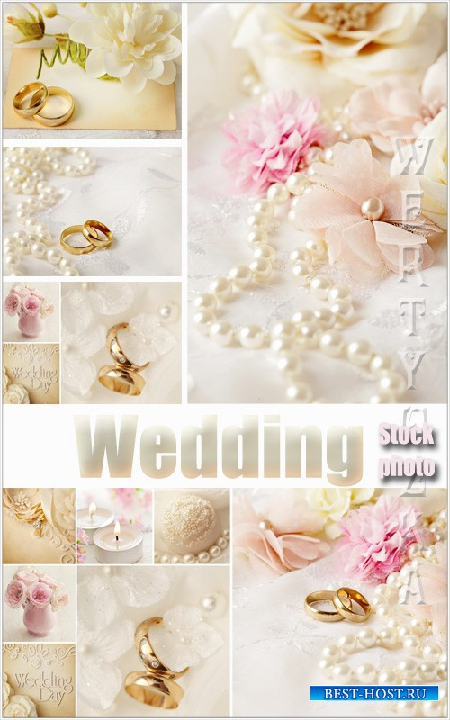 Свадебные коллажи / Wedding collage with roses and wedding rings - Raster clipart