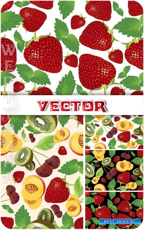 Векторные фоны с фруктами и ягодами, клубника, киви, черешня / Vector backg ...