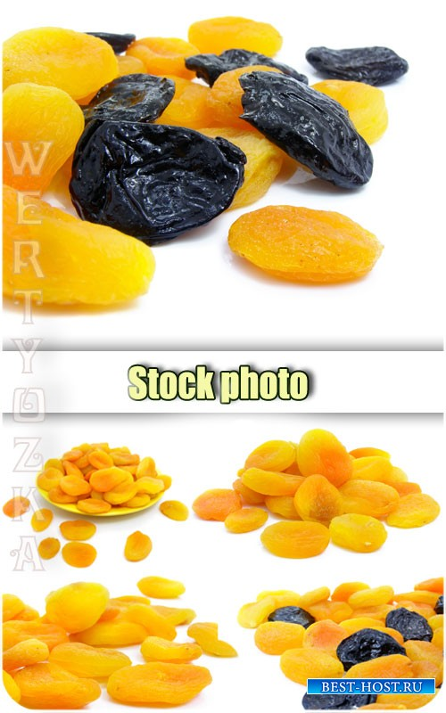 Курага с черносливом на белом фоне / Dried apricots, prunes - raster clipar ...