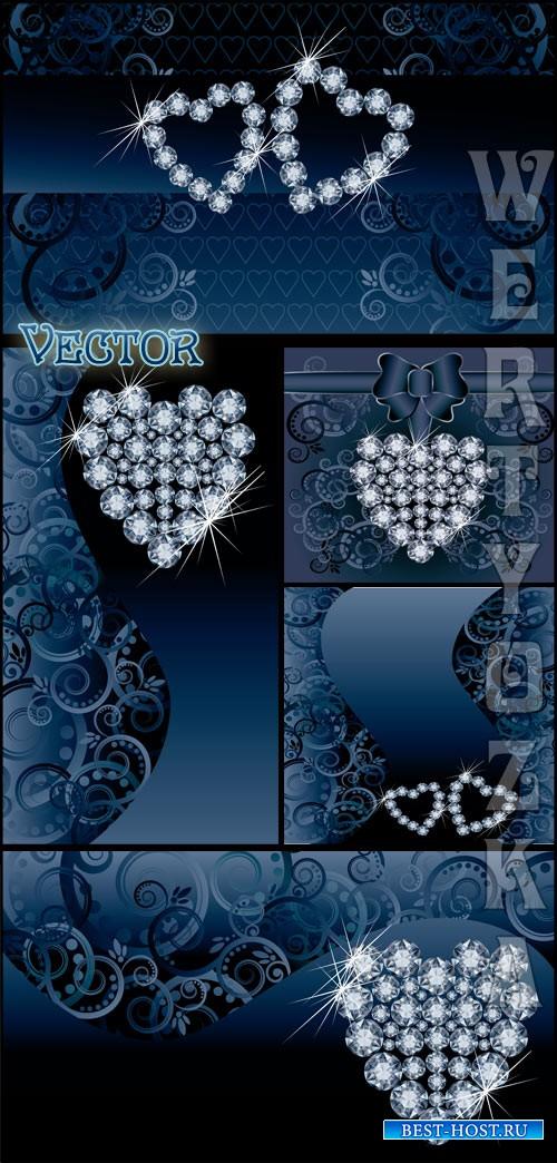 Синие фоны с драгоценными сердечками и узорами