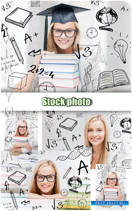 Красивая девушка студентка / Beautiful girl student - Raster clipart