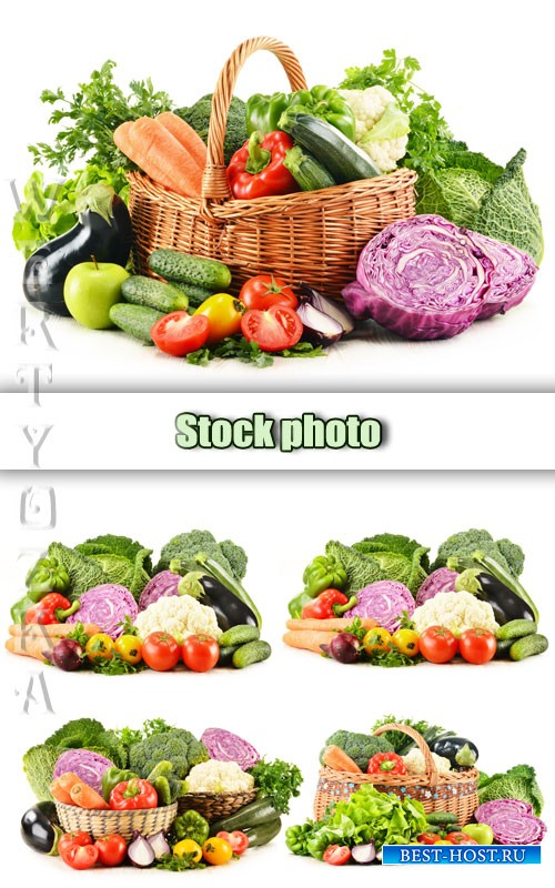 Свежие овощи, овощи в корзине / Fresh fruits and vegetables in a basket - Raster clipart