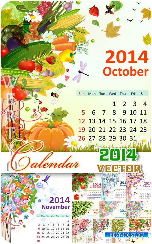 Календарь на 2014 / Calendar for 2014 - vector clipart