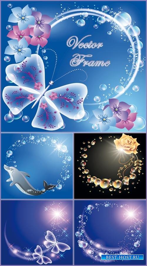 Нежные векторные рамки с дельфином и цветами