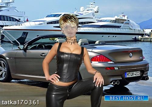 Женский шаблон для фотошопа - Девушка в кожаном костюме