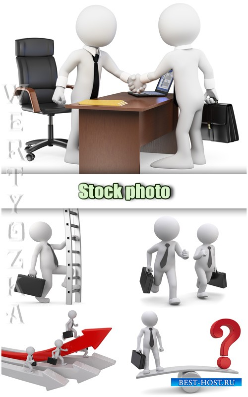 Бизнес люди в 3D / Business people in 3D - Raster clipart