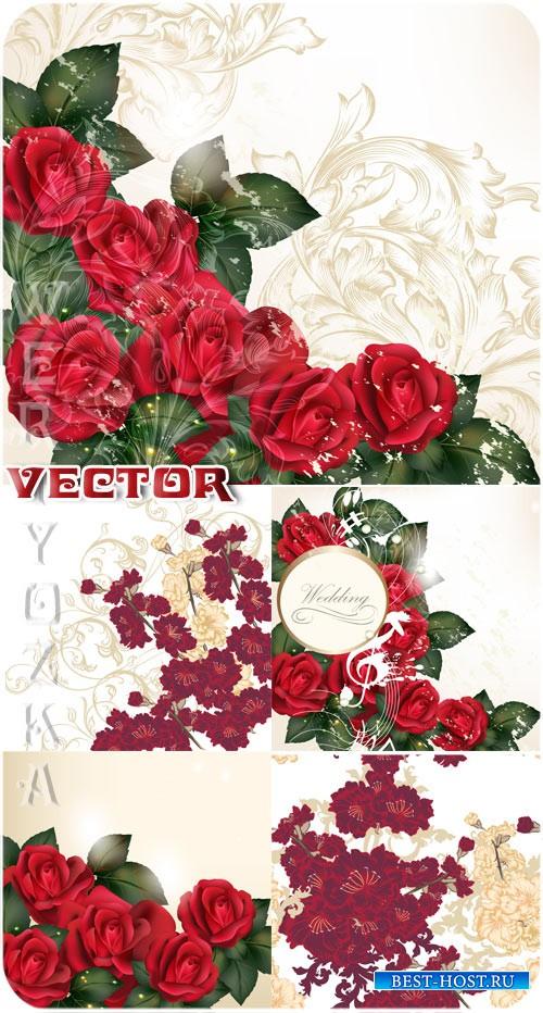 Свадебные фоны с розами и золотыми узорами / Wedding backgrounds with roses ...