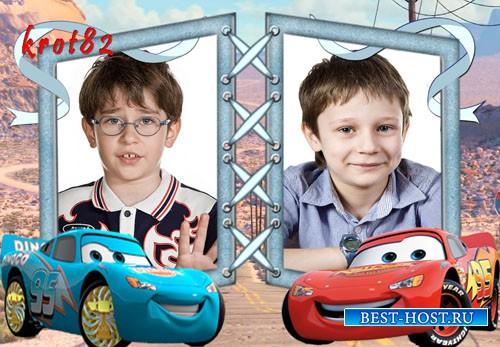 Рамка для мальчика на 2 фото – Веселые тачки