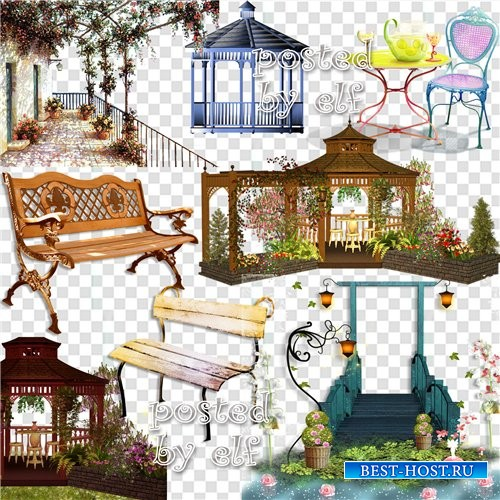 Набор элементов для графических работ - Цветочные арки, беседки и скамейки