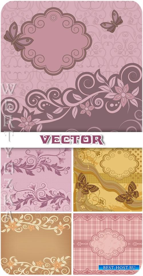 Винтажные векторные фоны с цветами и узорами / Vintage vector background wi ...