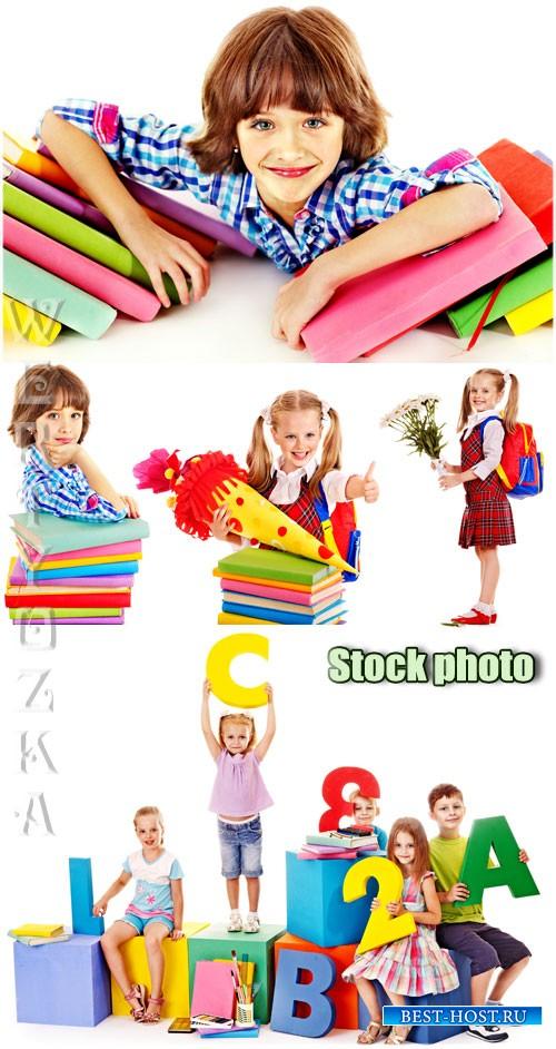 Девочки школьницы с книжками / Girls schoolgirl with books - Raster clipart