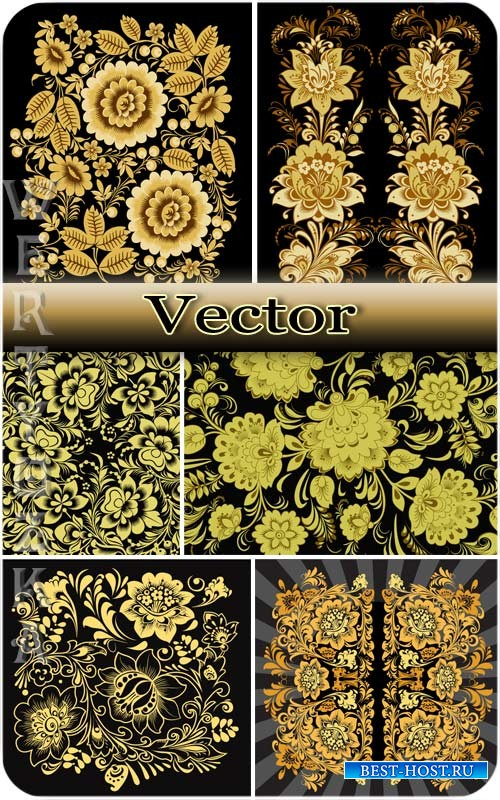 Золотые цветы, орнаменты / Golden flowers, ornaments - vector