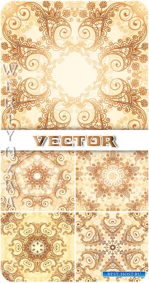Нежные золотистые узоры / Gentle gold pattern - vector clipart