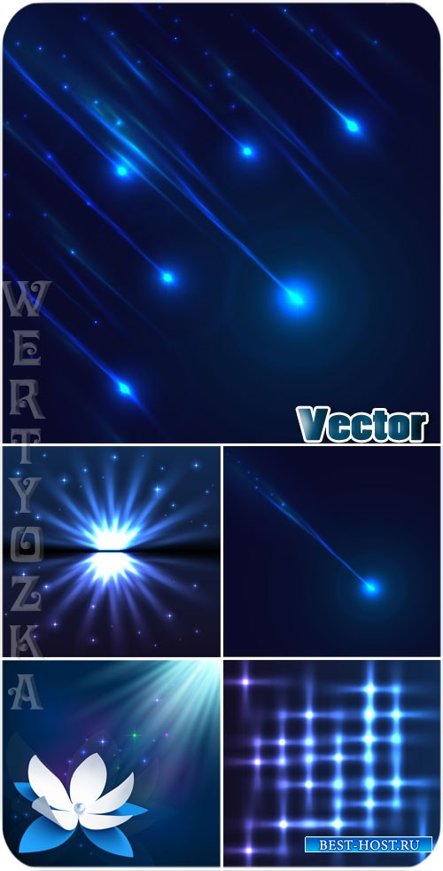 Сияние и блеск, синие векторные фоны / Shine and luster, blue vector backgr ...