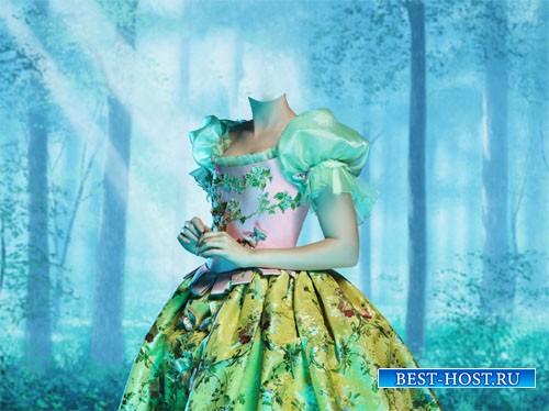 PSD шаблон - Милая Белоснежка в ярком платье в сказочном лесу