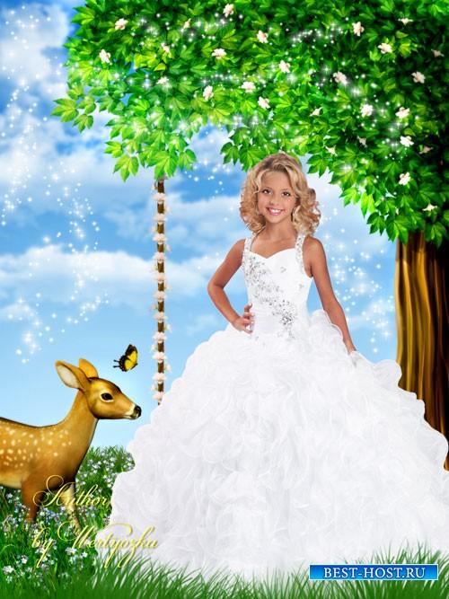 Детский шаблон для фотошопа - Девочка в белом платье и олененок