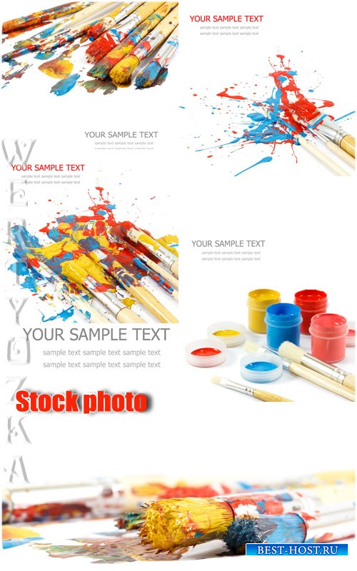 Краски и кисточки / Paints and brushes - Raster clipart
