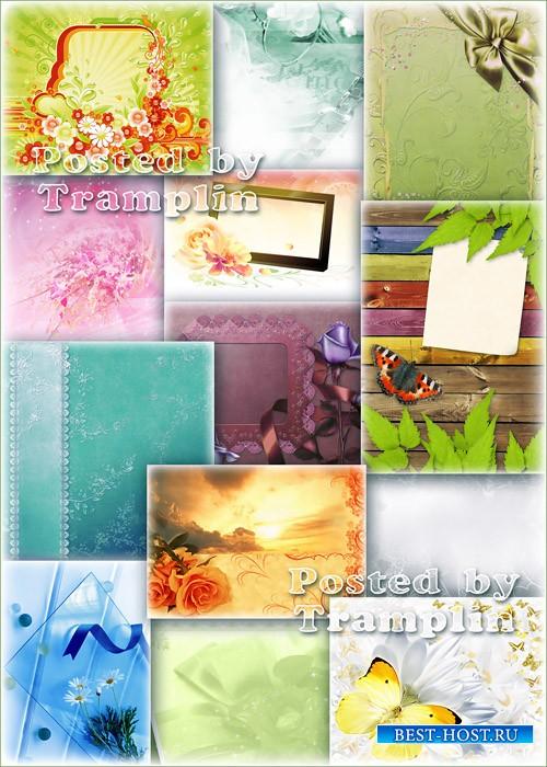 Фоны с разными  цветами и рамками для фото