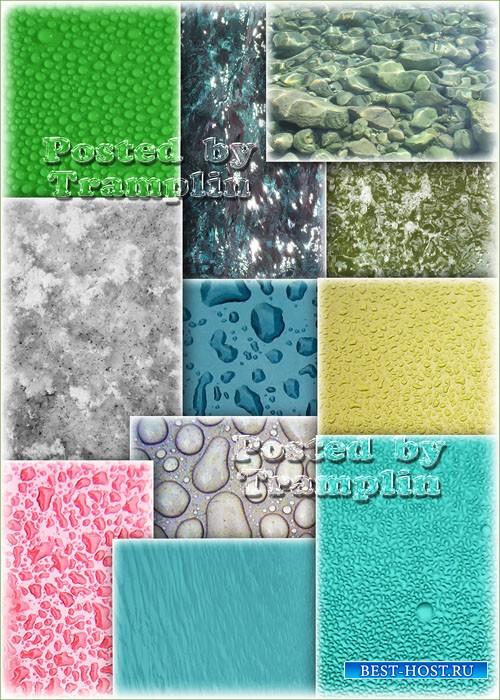 Вода, капли разного цвета и фактуры - Фоны