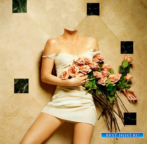 Шаблон psd женский - Фотосессия с цветами
