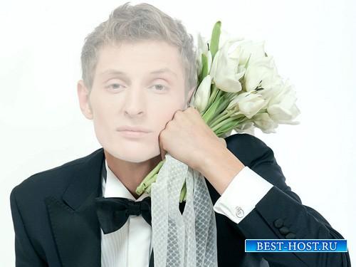 Шаблон для фотошопа - Парень с красивыми тюльпанами