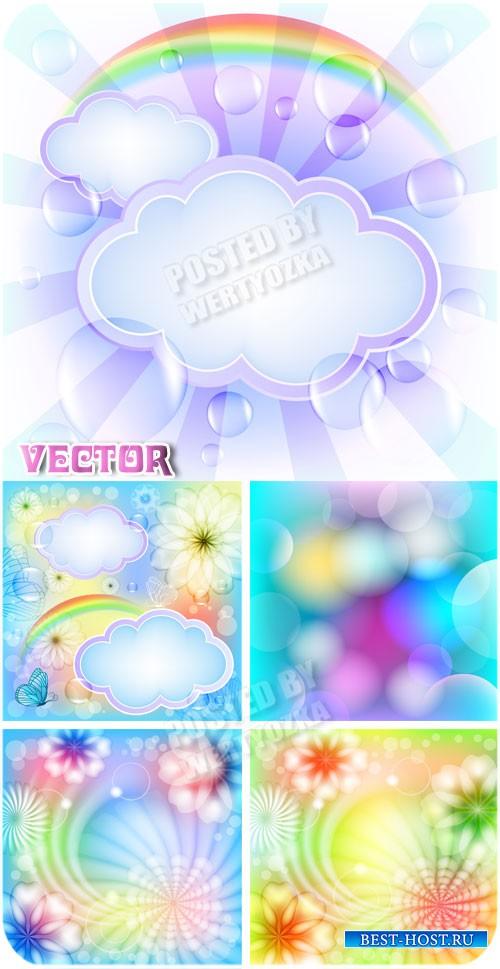 Векторные фоны с цветами, бабочками и облаками / Vector background with flo ...