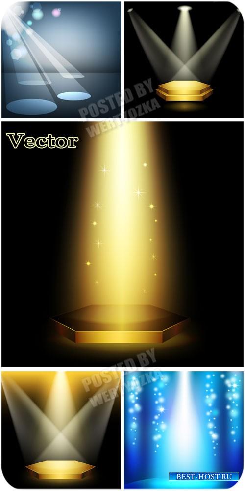Свет прожектора, освещение / Spotlights, lighting - vector