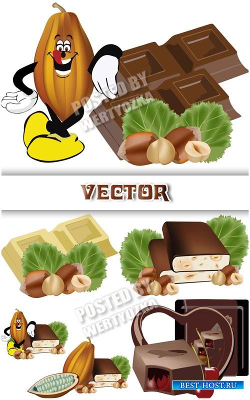 Шоколад с орехами, сладости /  Chocolate with nuts, sweets - vector