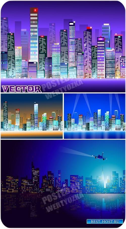 Векторные фоны с ночным городом, архитектура / Vector background with night ...