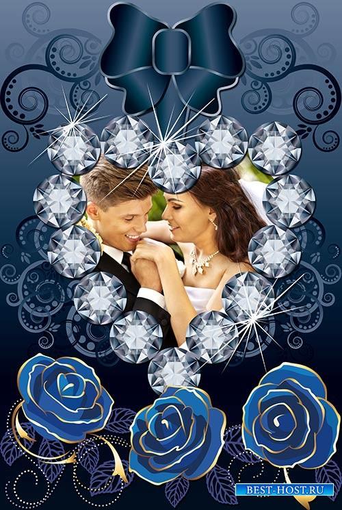 Фотошоп рамка с розами и сердечко ис драгоценных камней