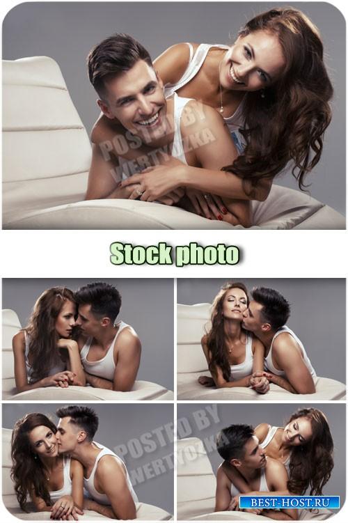 Молодая красивая пара, парень и девушка / Young beautiful couple - Raster c ...