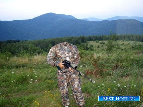 Шаблон psd - Снайпер с оружием