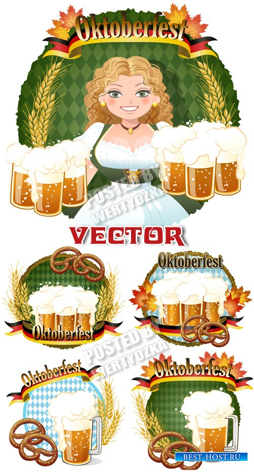 Девушка с бокалами пива / Girl with glasses of beer - vector