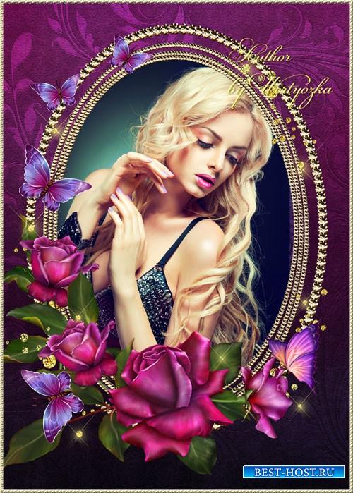 Рамка для фотошопа - Роскошные розы в блеске золота