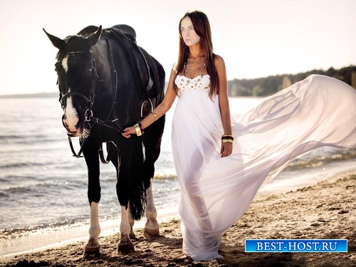 Шаблон для девушек - Брюнетка с красивой лошадкой на море