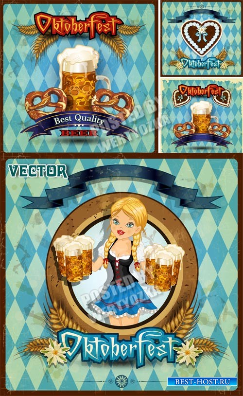 Пиво, девушка с бокалами пива / Beer, a girl with glasses of beer - vector