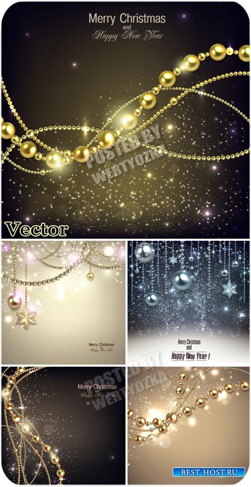 Новогодние и рождественские фоны в векторе / Christmas backgrounds