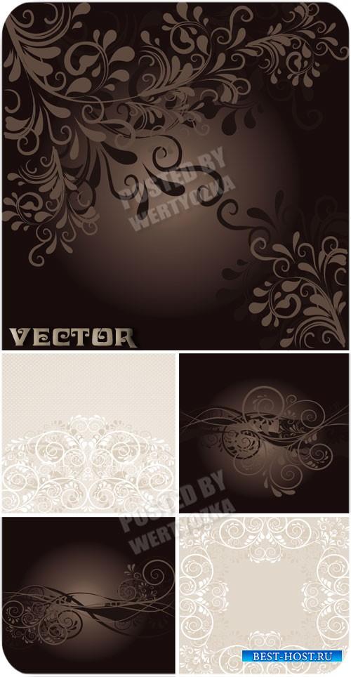 Фоны с красивыми цветочными орнаментами / Beautiful backgrounds - vector st ...