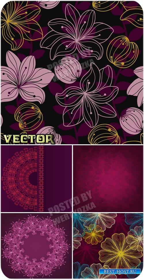 Фоны с цветами, фоны с узорами / Background with flowers - stock vector