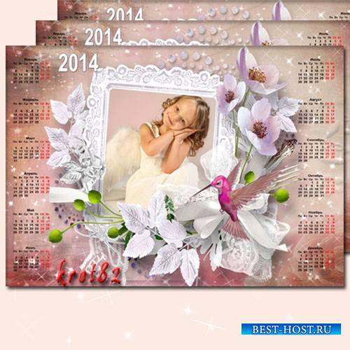 Цветочный календарь на 2014 год - Розовые лепестки, хрупкий стебелек