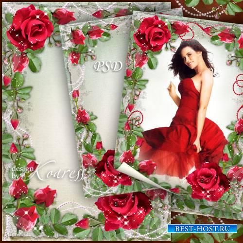 Романтическая цветочная фоторамка - Среди душистых алых роз