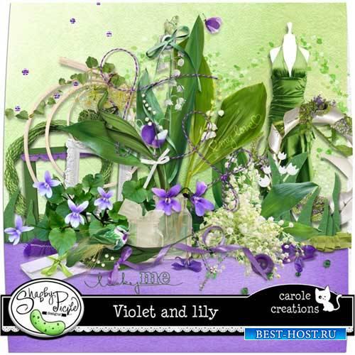 Цветочный скрап-комплект - Фиалки и лилии