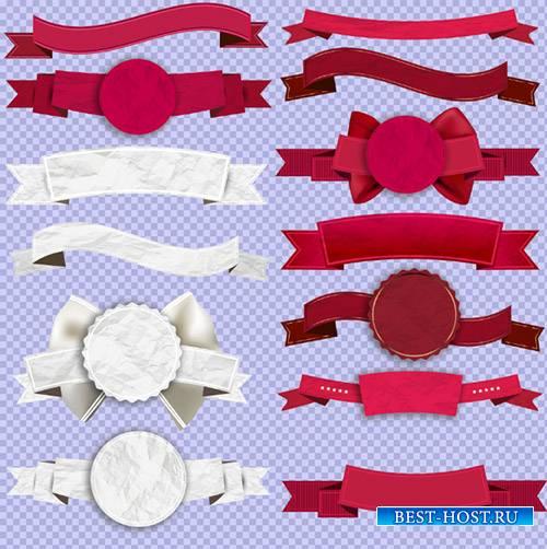 Клипарт - Красные и белые значки и ленточки на прозрачном фоне PSD