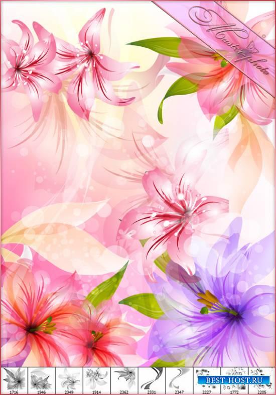 PSD исходник для фотошопа + кисти - Звезды и нежные лилии