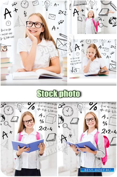 Девочка школьница с книгой / Girl schoolgirl with a book - stock photos