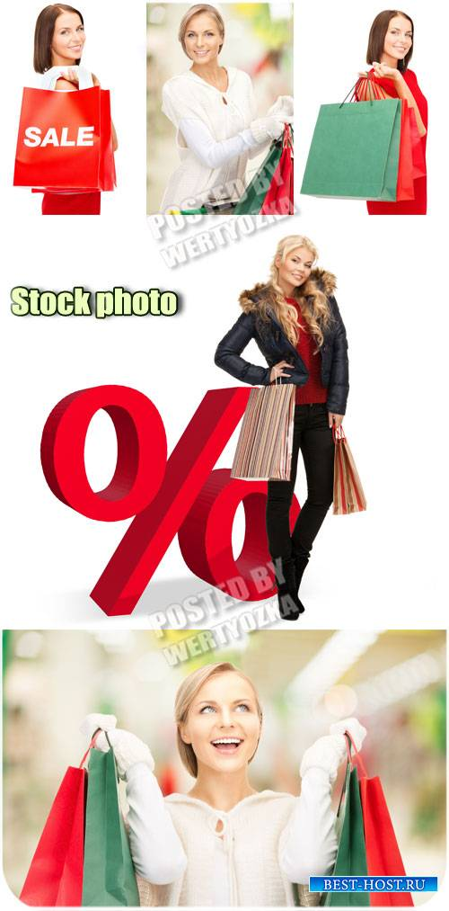 Распродажа, девушки с покупками / Sale, girls with shopping - stock photos