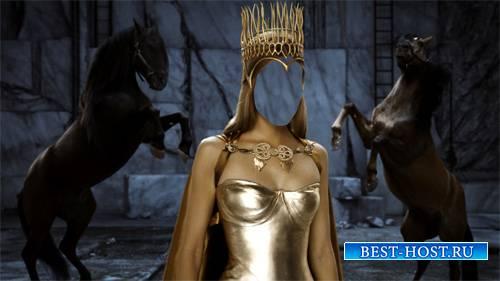 Шаблон для девушек - Королева в короне и лошади