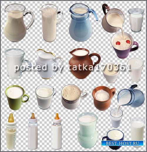 Клипарт для фотошоп - Молочные напитки и молоко в различной посуде